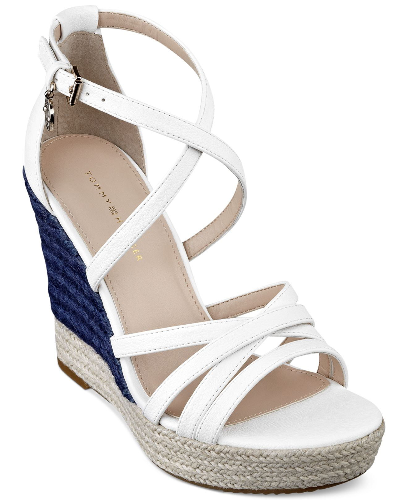 69c00b988c514c Lyst - Tommy Hilfiger Women S Venitia Platform Wedge Sandals in White