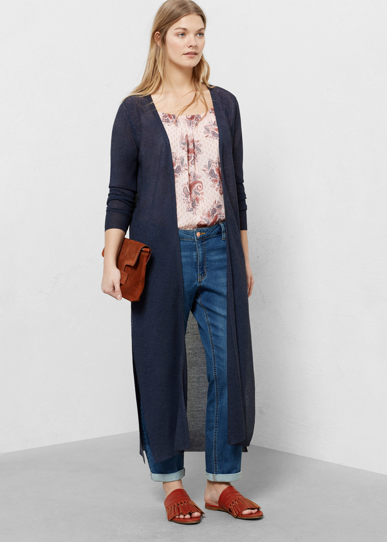 Violeta by mango Long Cardigan in Blue | Lyst