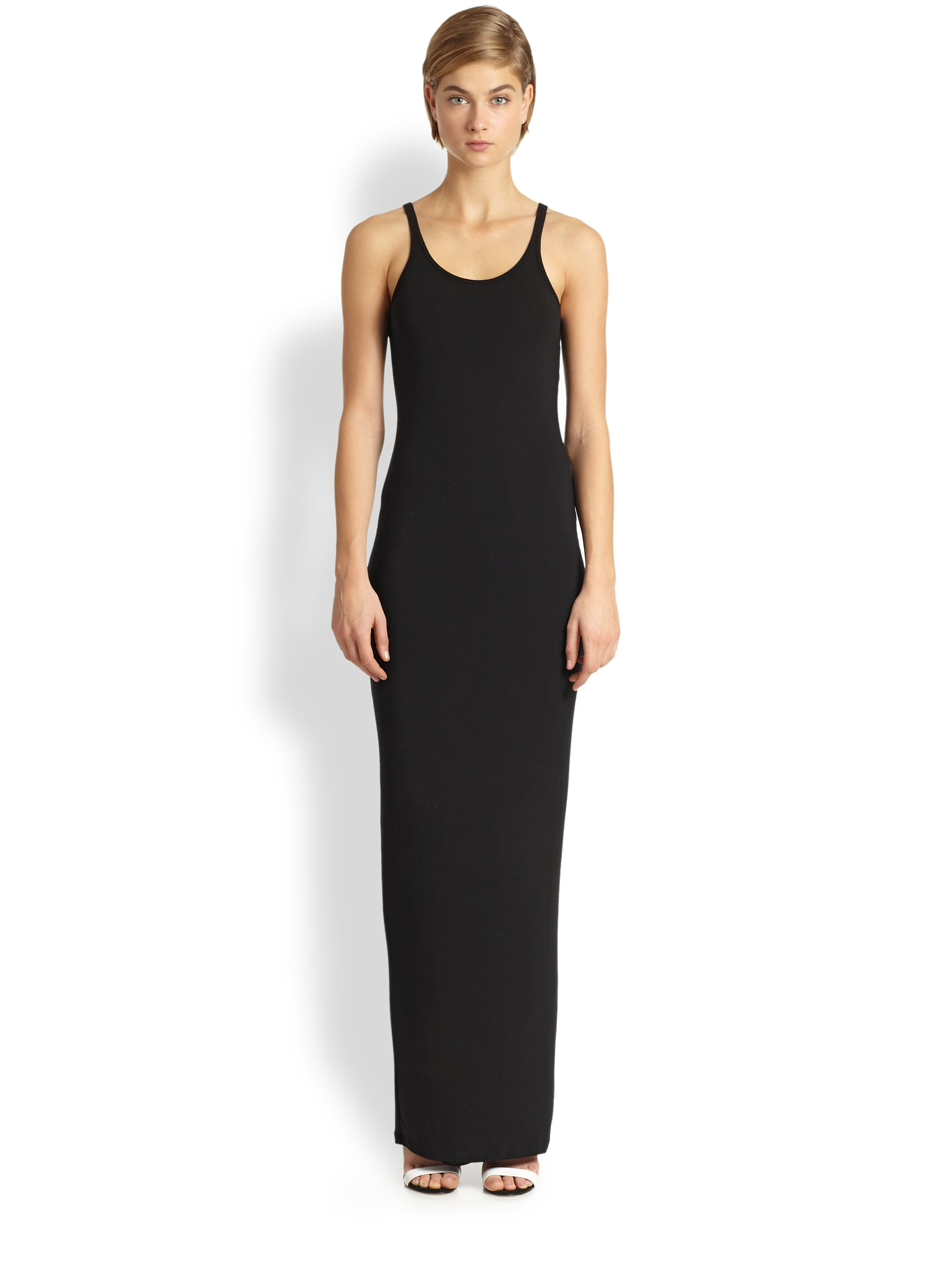 T by alexander wang Stretch Jersey Maxi Dress in Black | Lyst