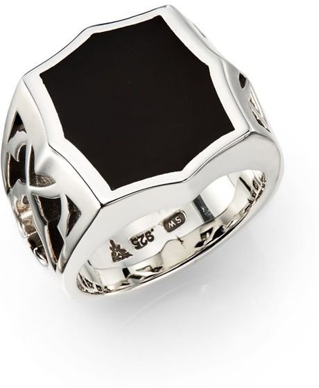 stephen webster onyx sterling silver signet ring in silver
