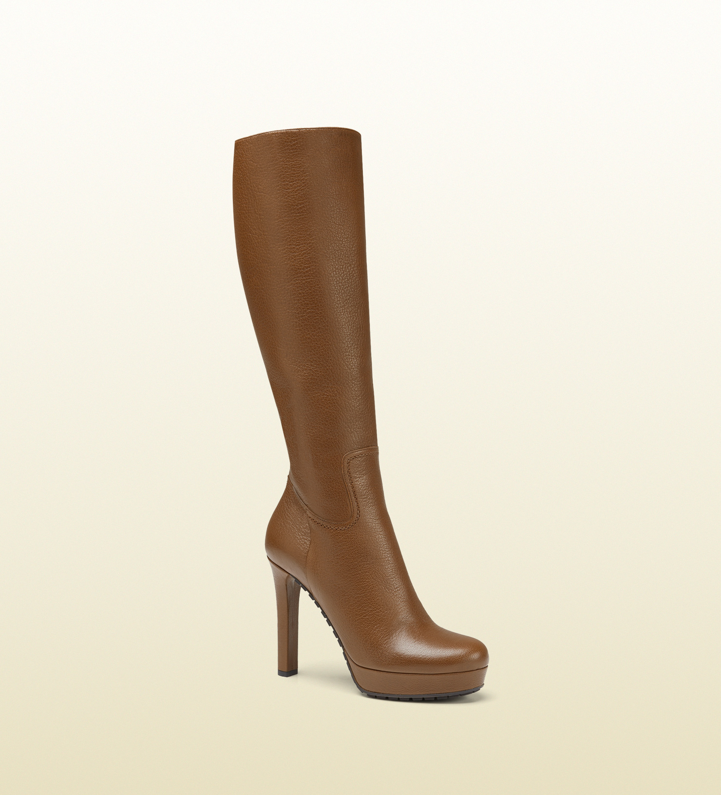 gucci anouk leather knee boot in brown lyst
