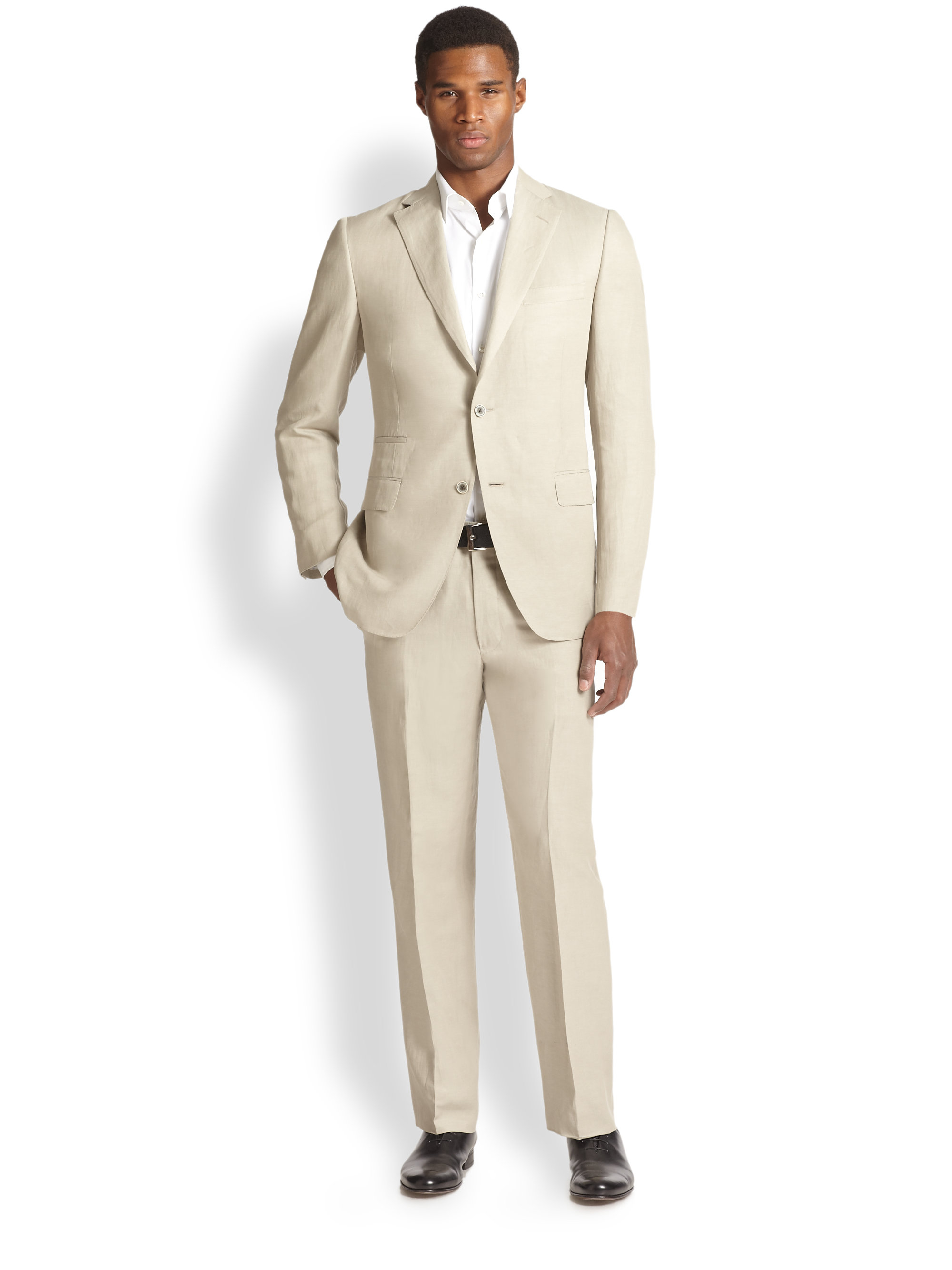 Saks fifth avenue Samuelsohn Slub Silk & Linen Suit in Natural for