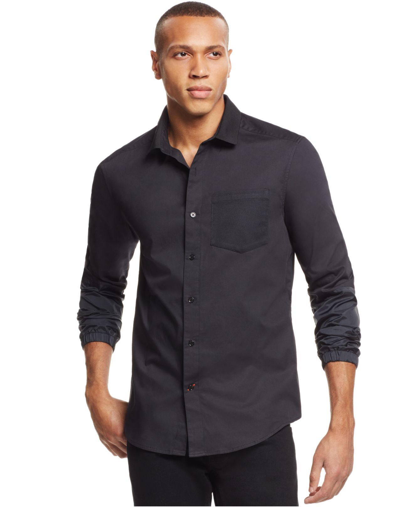 Sean john Big And Tall Mesh-pocket Banded-sleeve Shirt in Gray for Men | Lyst