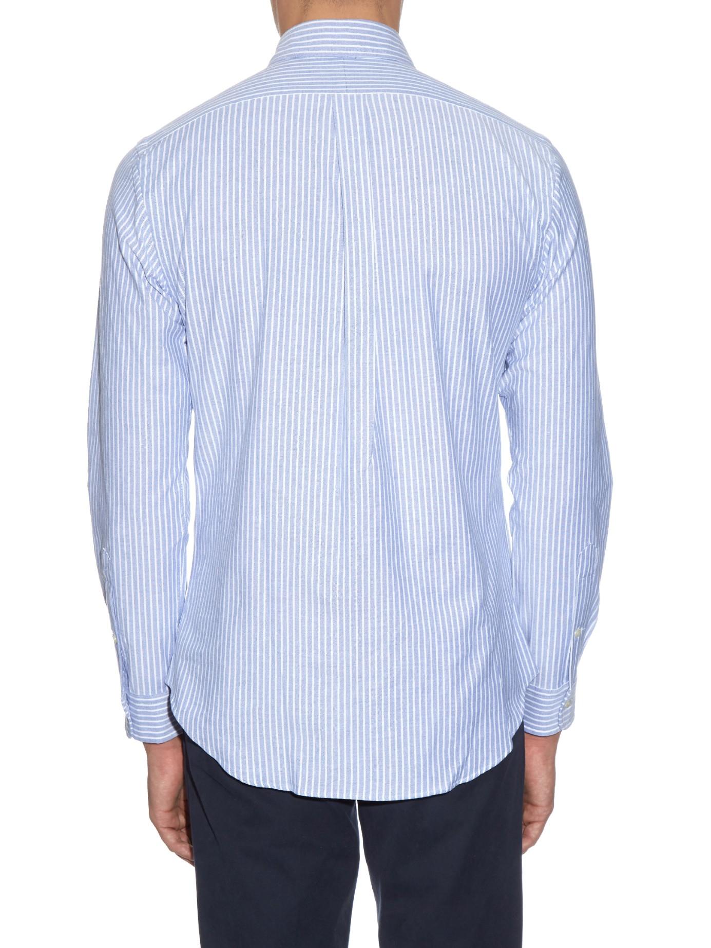 polo ralph lauren striped cotton oxford blend shirt in