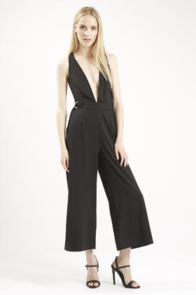 e9dadeb180ef TOPSHOP Low V Front Culotte Jumpsuit By Oh My Love in Black - Lyst