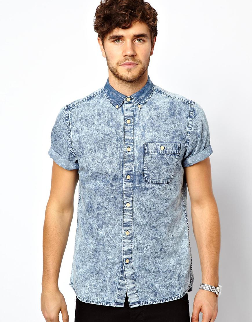 Lyst asos denim shirt in short sleeve with acid wash in for Short sleeved shirts for men