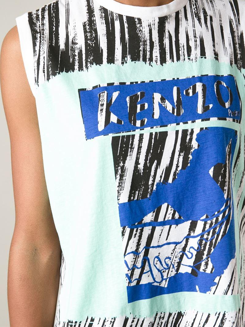 Lyst Kenzo Fish Print T Shirt In Blue