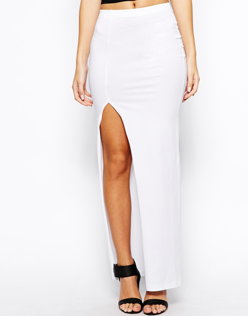 asos exclusive maxi skirt with thigh split in white lyst
