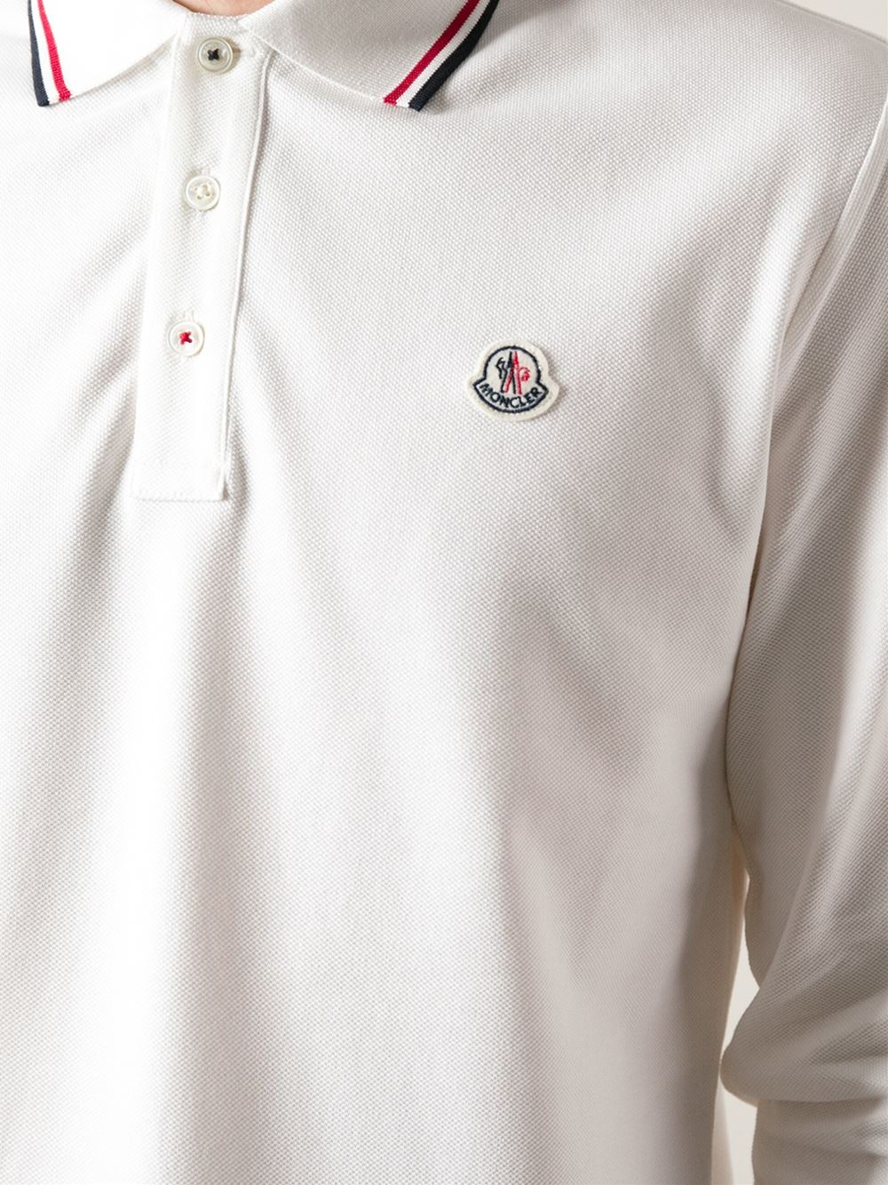 f6e7cad8067a Men Moncler For Long Shirt White Sleeve Lyst Polo In POqSC0w