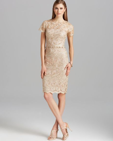 David Meister Dress Short Sleeve Metallic Lace Beaded