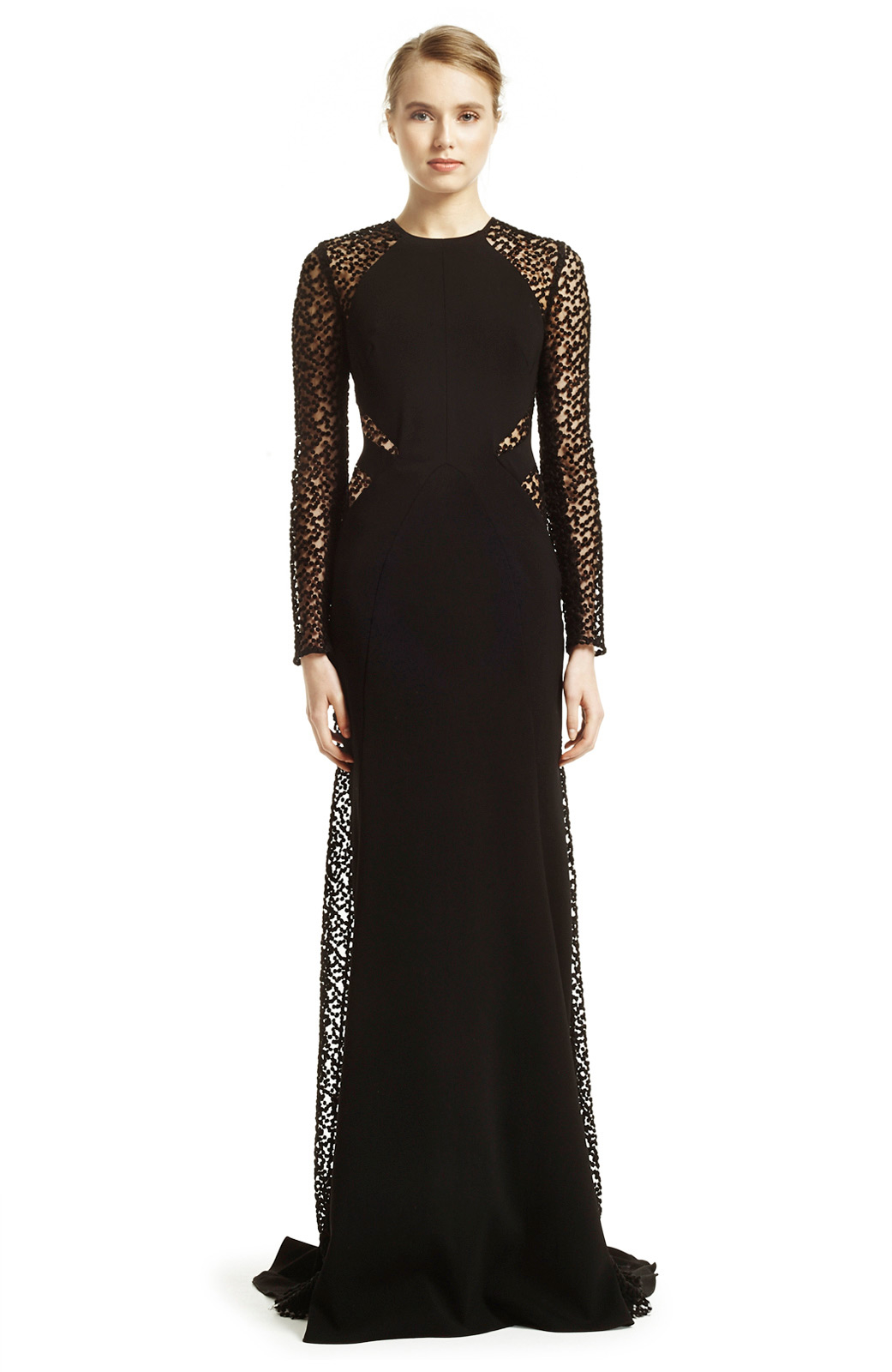 Lela rose Embroidered Dot Tulle Long Sleeve Gown in Black | Lyst