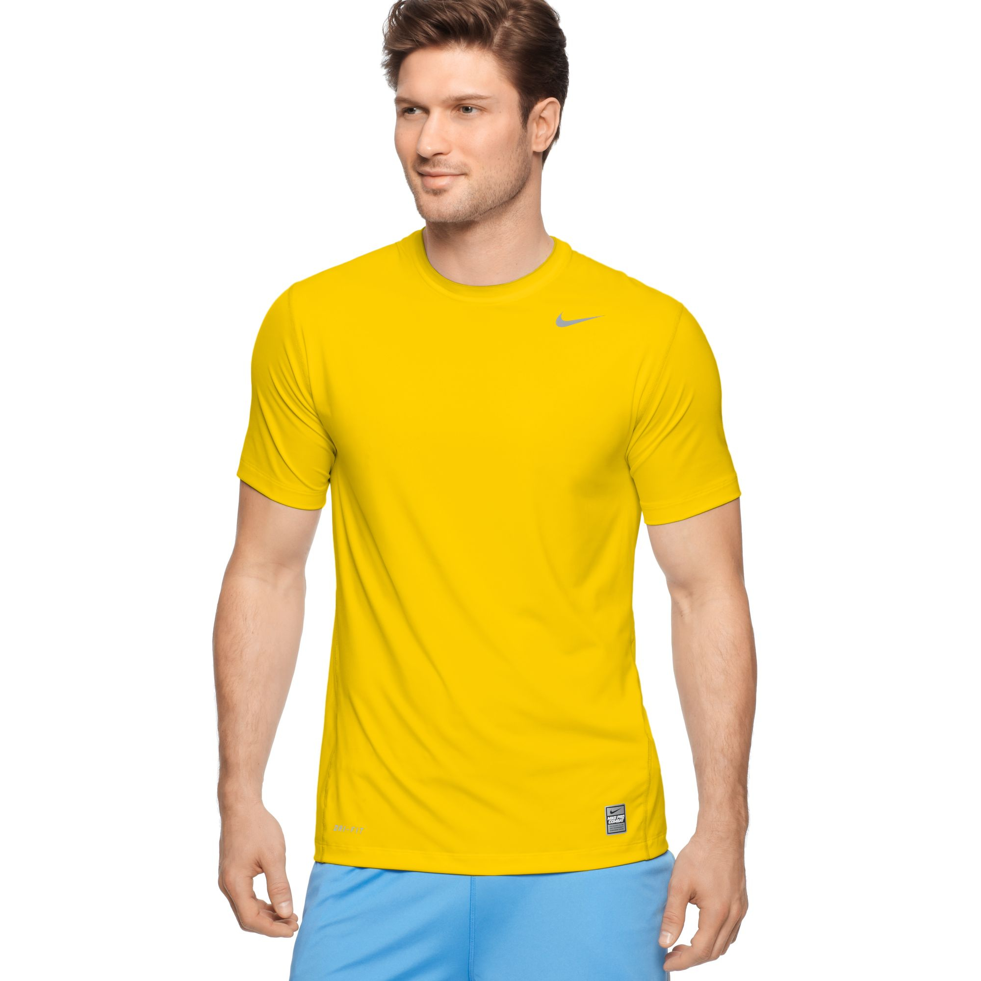 Nike Pro Combat Dri Fit T Shirts In Yellow For Men