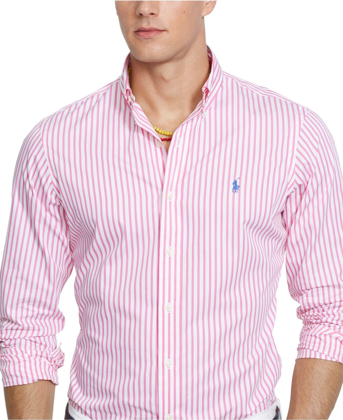 0ff10778e purchase lyst polo ralph lauren mens long sleeve striped poplin shirt in  0ed75 02bcb