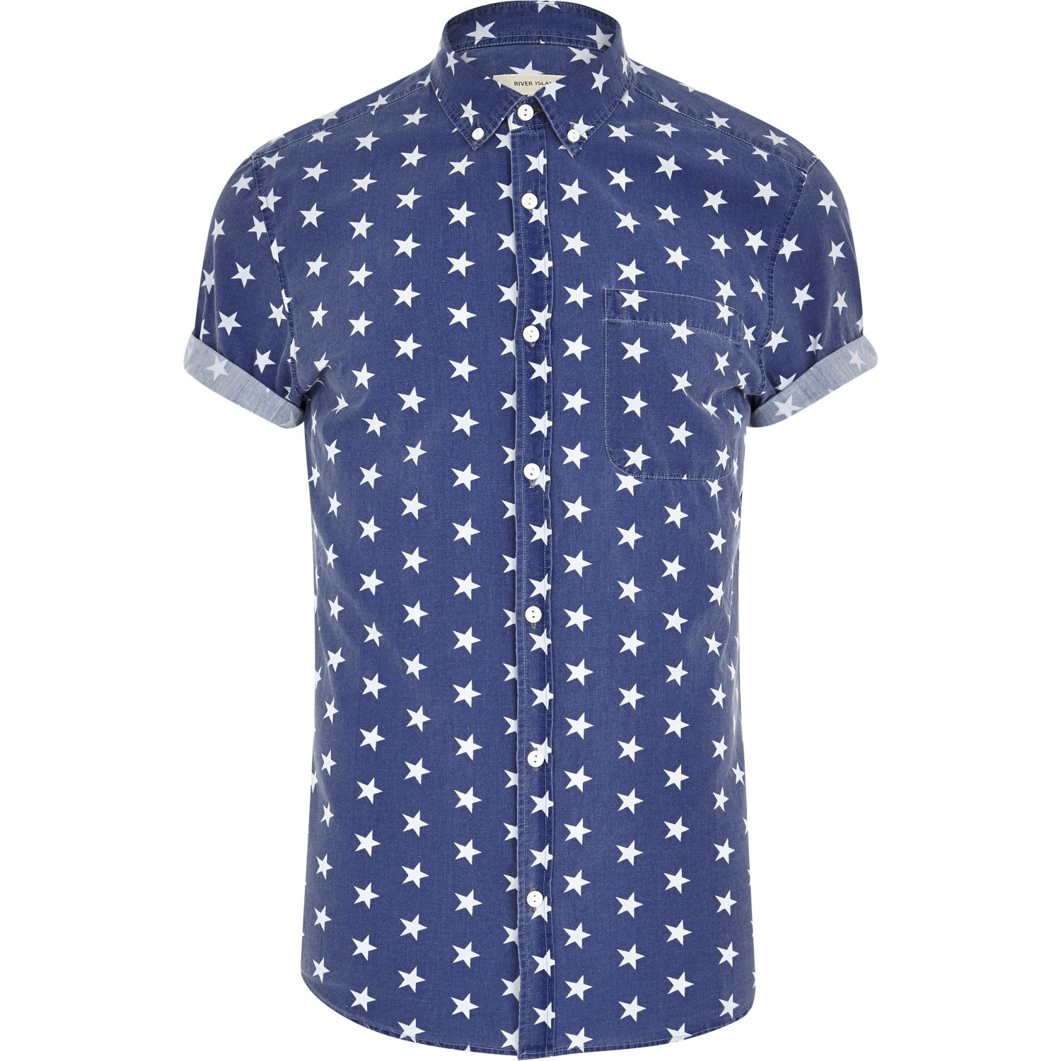 River island blue star print short sleeve shirt in blue for Printed short sleeve shirts