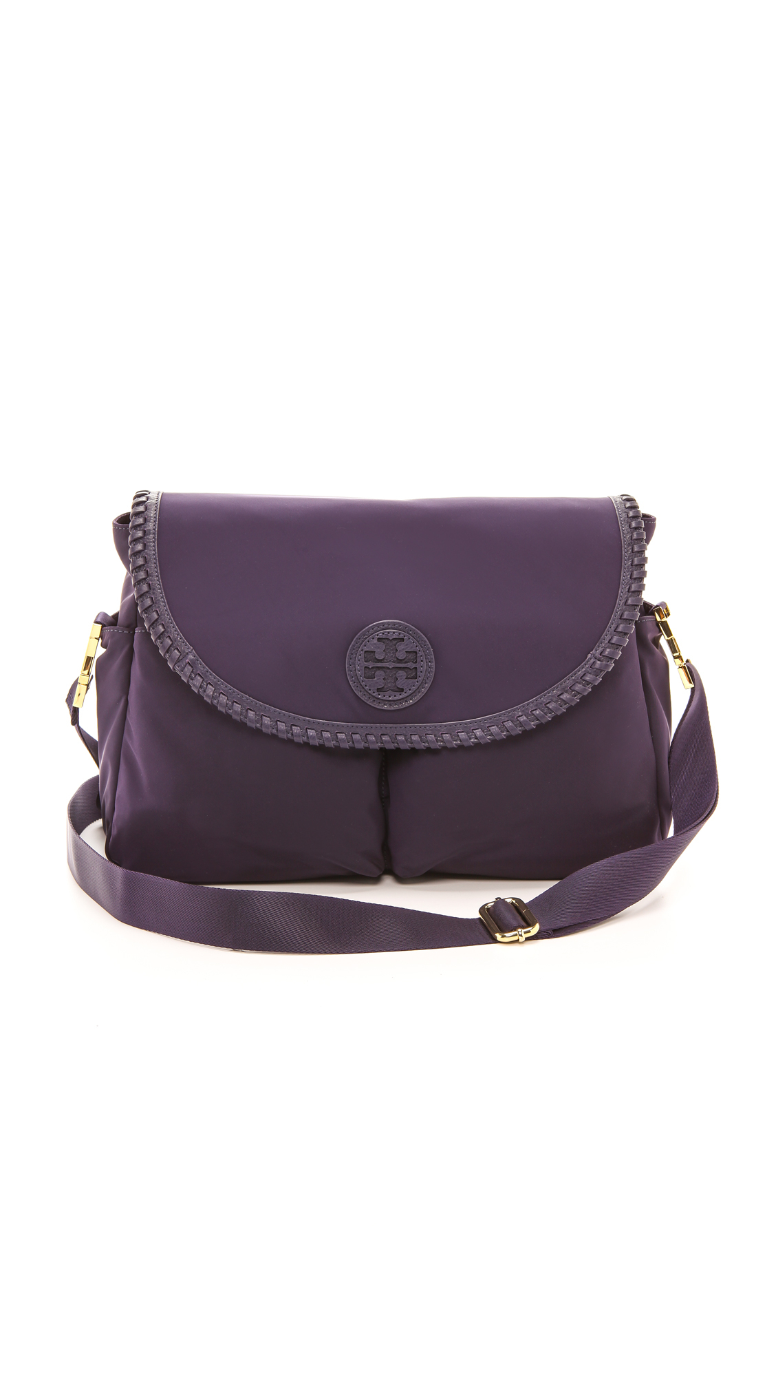 Tory Burch Marion Nylon Baby Bag Blue Ink In Purple Blue