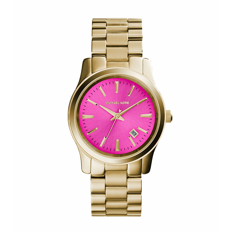 michael kors runway pink gold tone in pink lyst