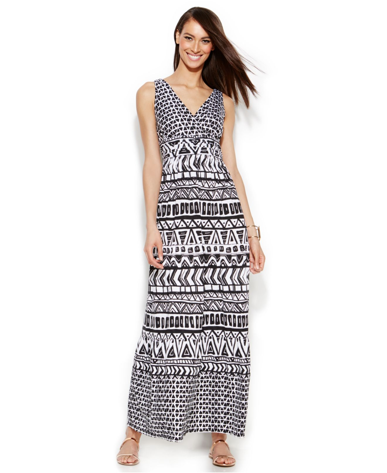 Inc international concepts Petite Printed Ruched-back Maxi Dress ...