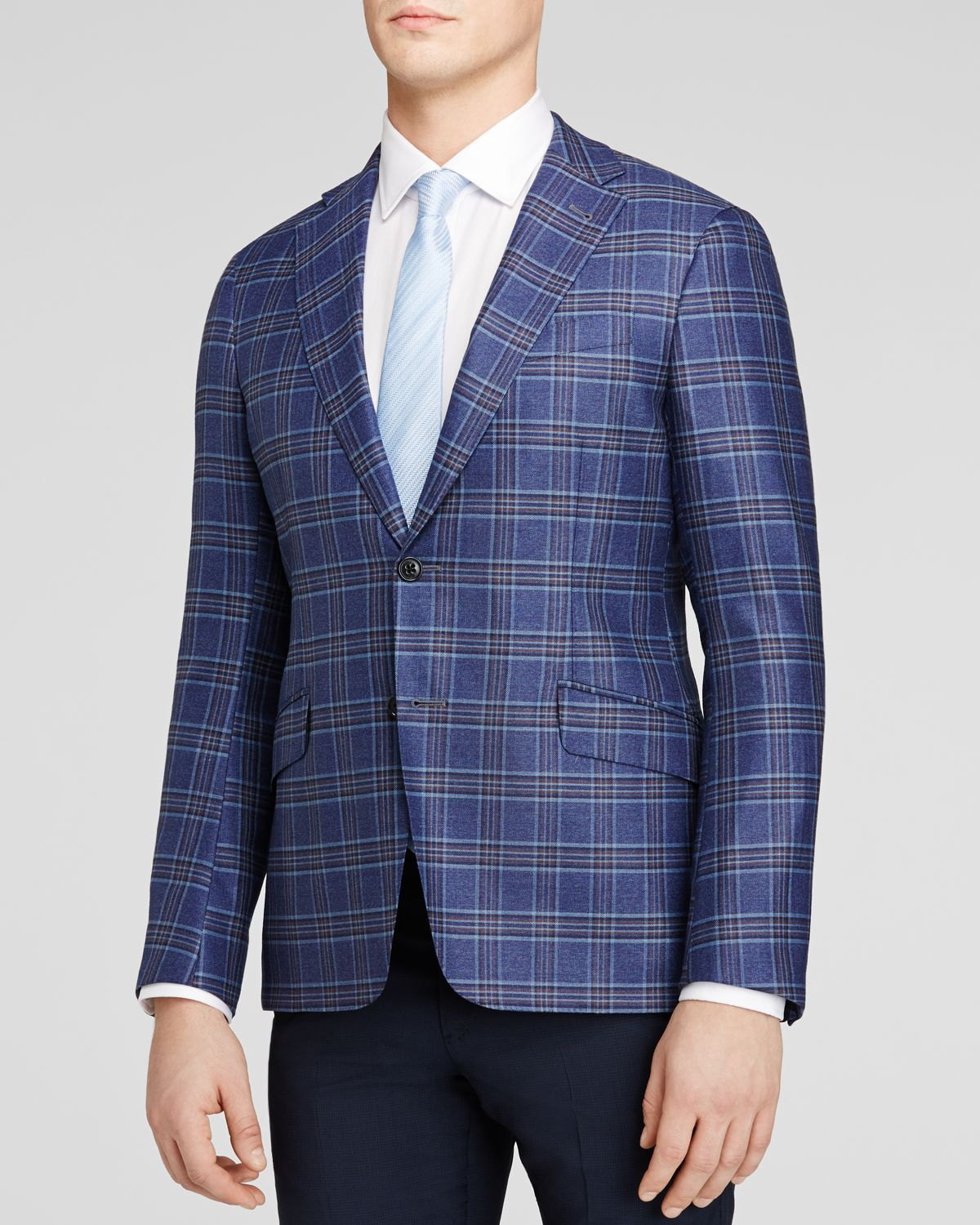 Blue Plaid Jacket $1, With its perfect shade of blue, large tonal plaid pattern, and lightweight wool, silk, & linen blend, this jacket is destined to be your new favorite for the summer.