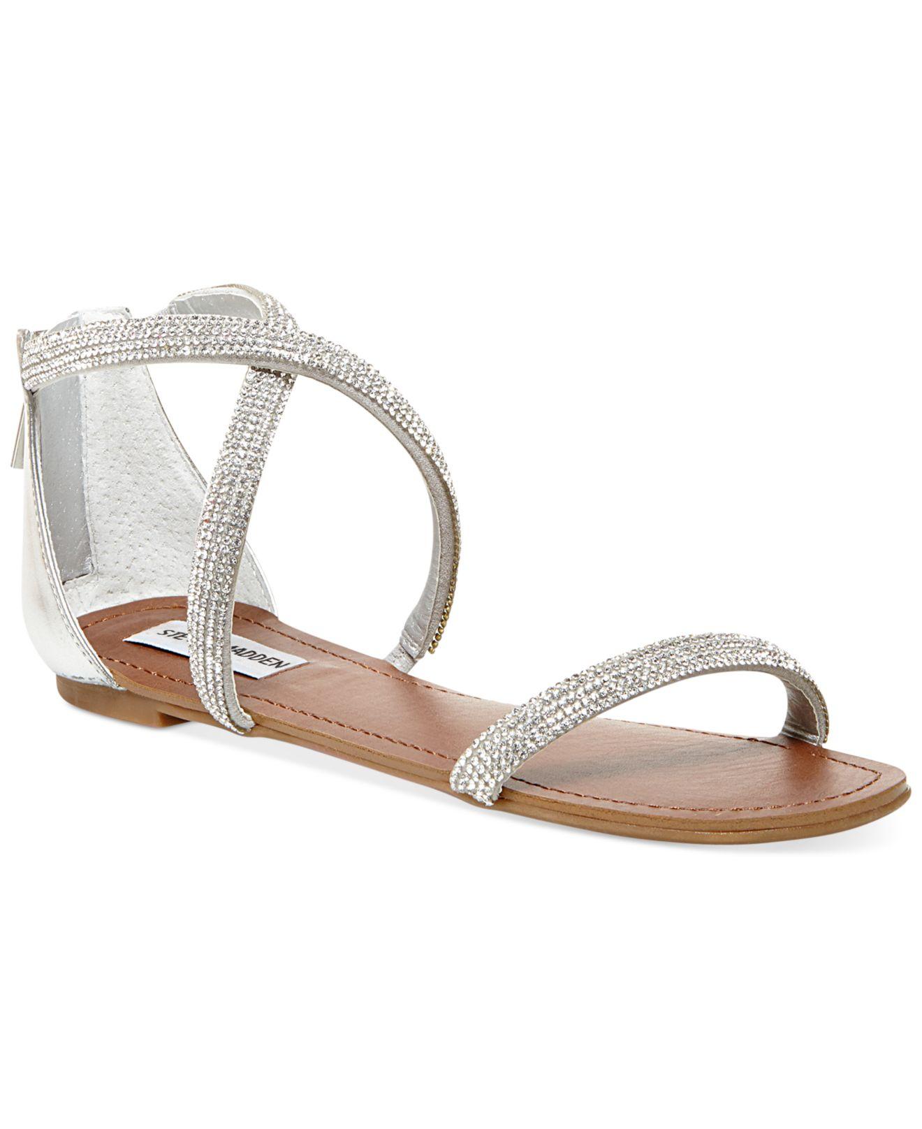 Lyst - Steve Madden Zsaza Bling Flat Sandals in Metallic