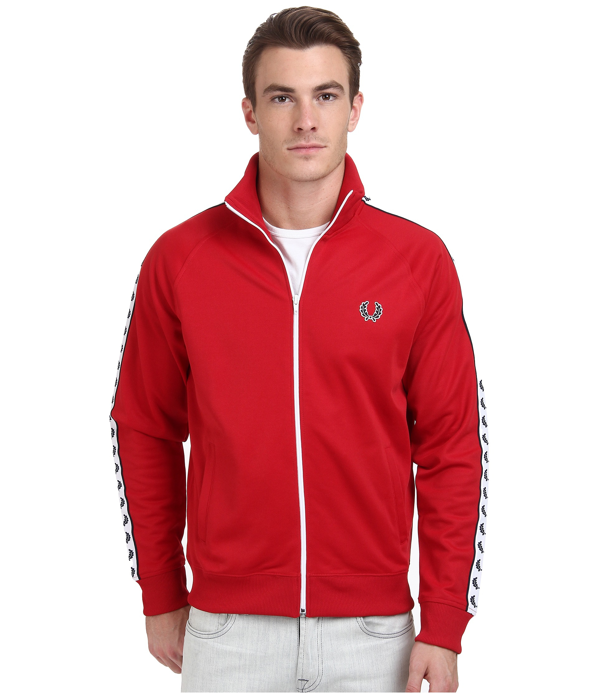 bcffe8bf6 Fred Perry Laurel Taped Track Jacket in Red for Men - Lyst