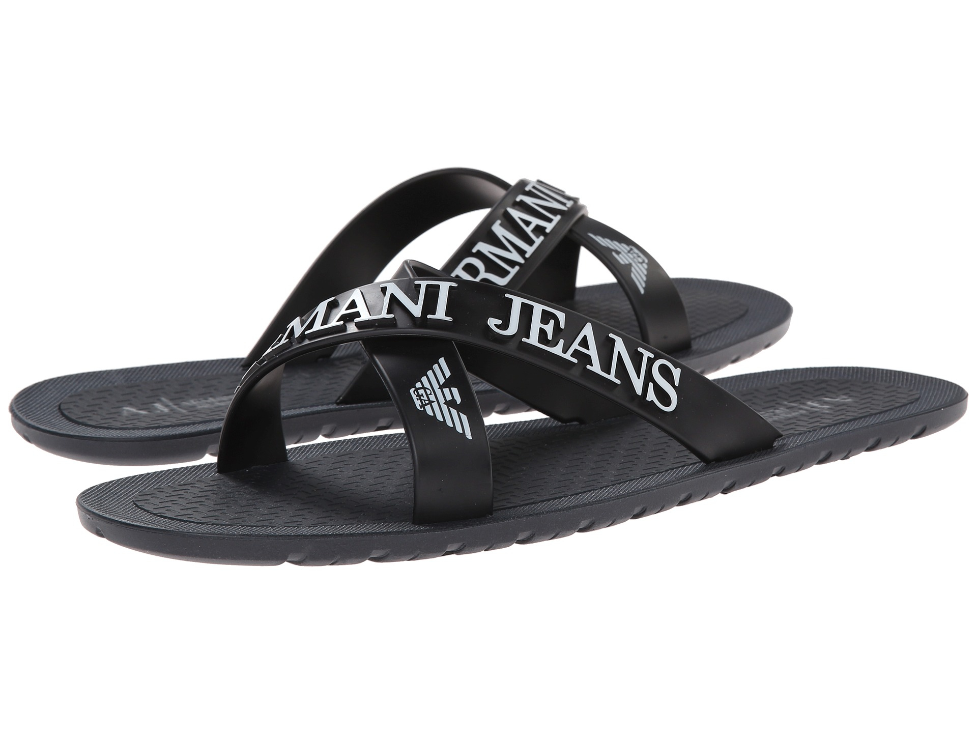 Armani Jeans Crossover Casual Flip Flops In Blue For Men