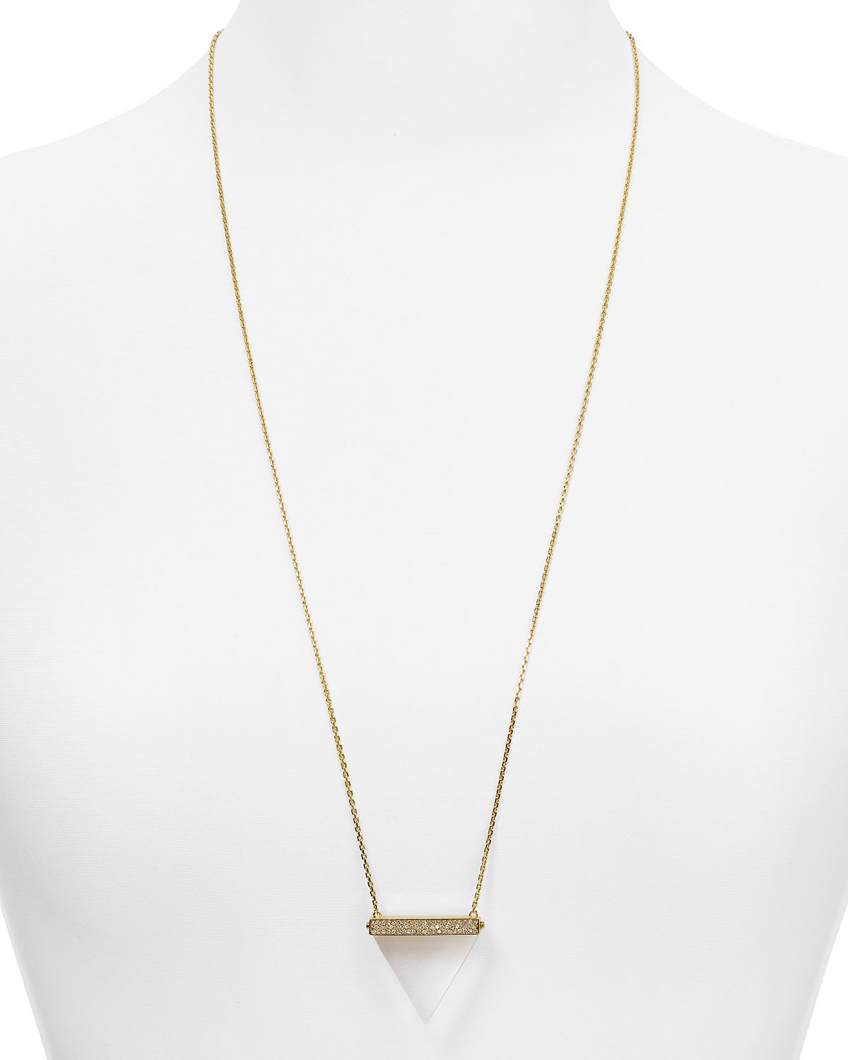 Lyst michael kors pav triangle pendant necklace 30 in metallic gallery previously sold at bloomingdales womens michael kors pendant mozeypictures Image collections