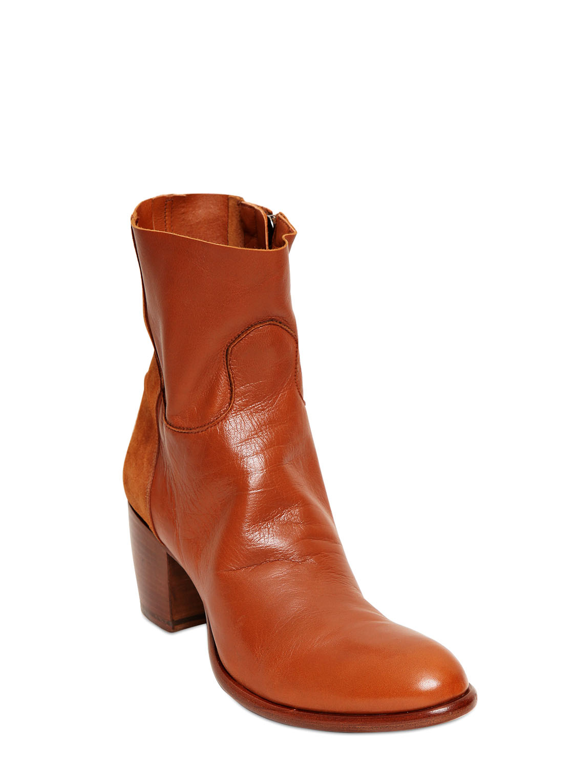 p 70mm leather suede boots in brown lyst