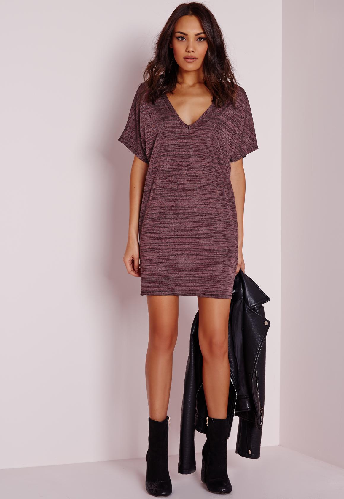 Lyst Missguided V Neck Oversized T Shirt Dress Purple