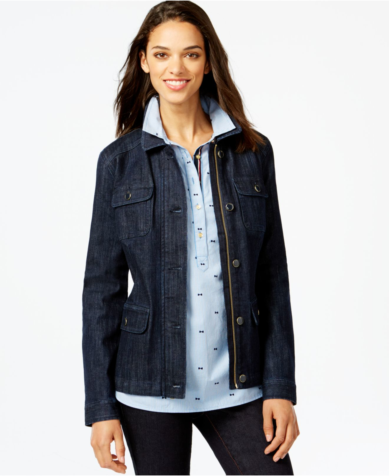 Lyst - Tommy Hilfiger Zip-front Denim Jacket in Blue