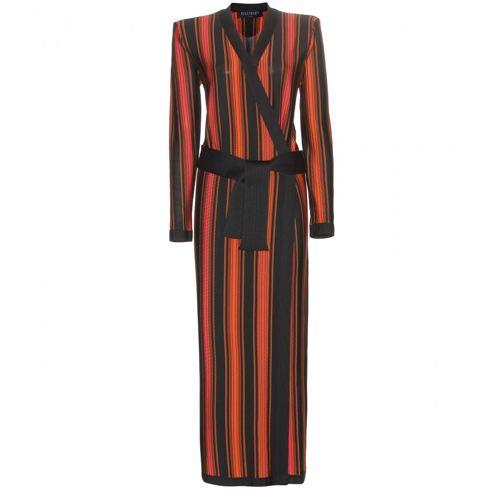 Balmain Striped Longline Cardigan in Red | Lyst