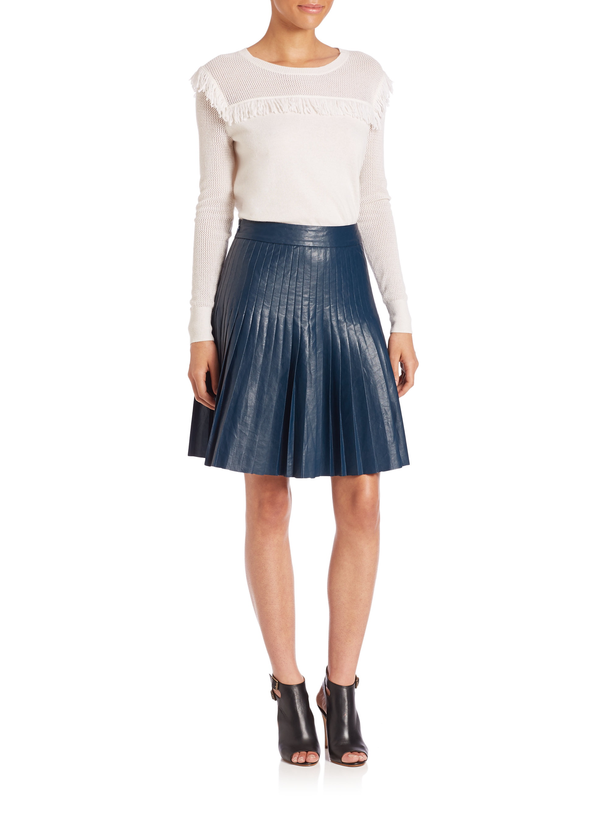 Rebecca taylor Faux-leather Pleated Skirt in Blue | Lyst