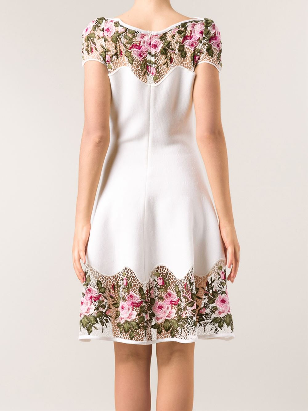 Blumarine white flared lace dress