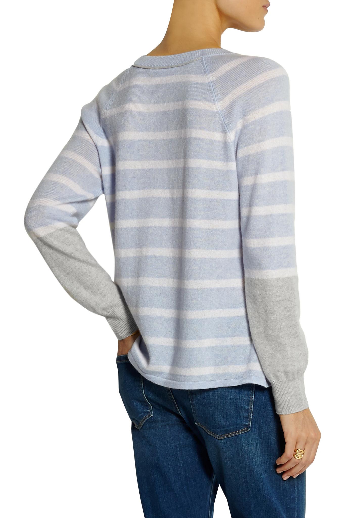 Duffy Striped Cashmere Sweater in Blue | Lyst