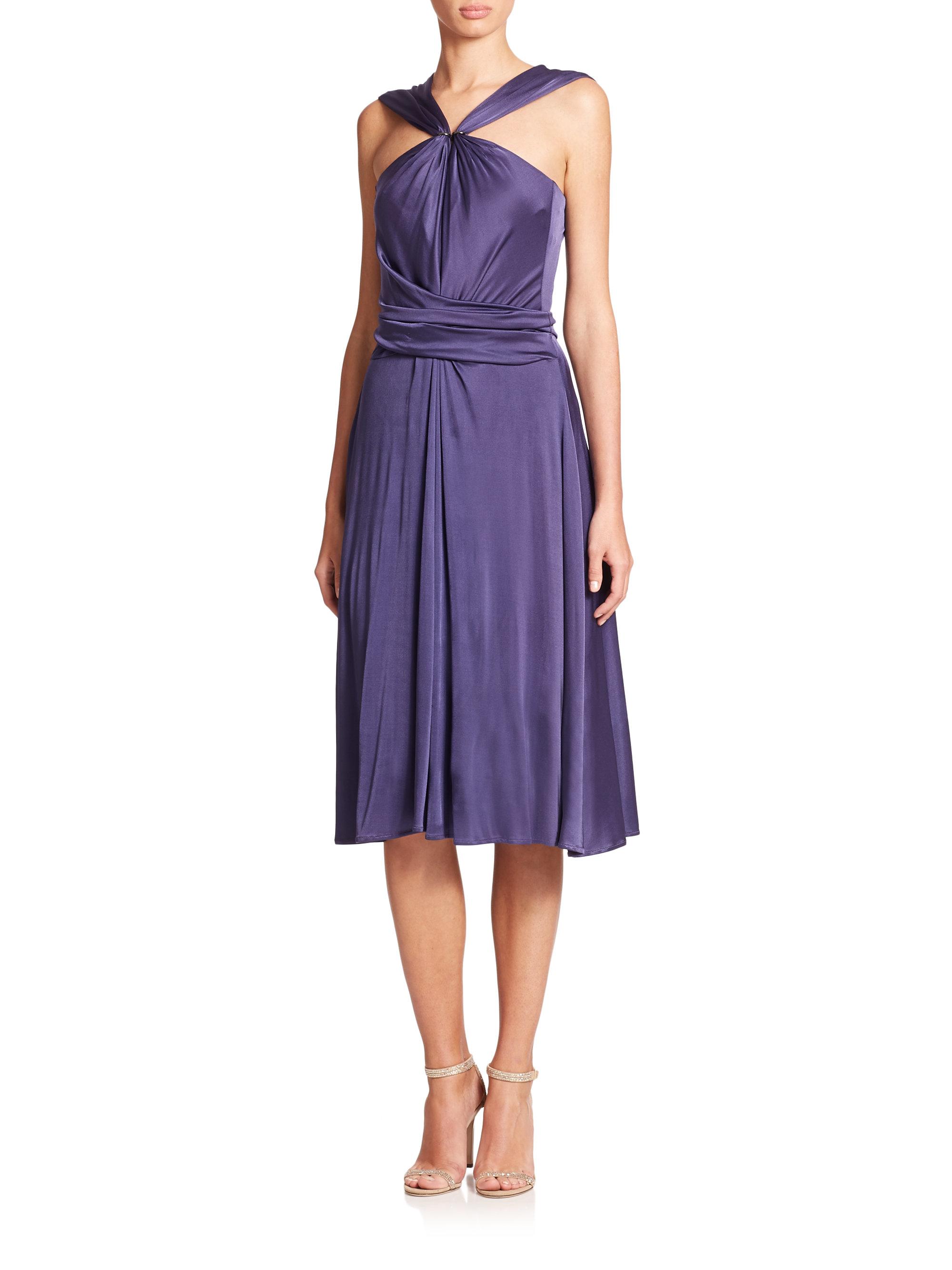 gathered neck tie belt jersey dress in purple lyst