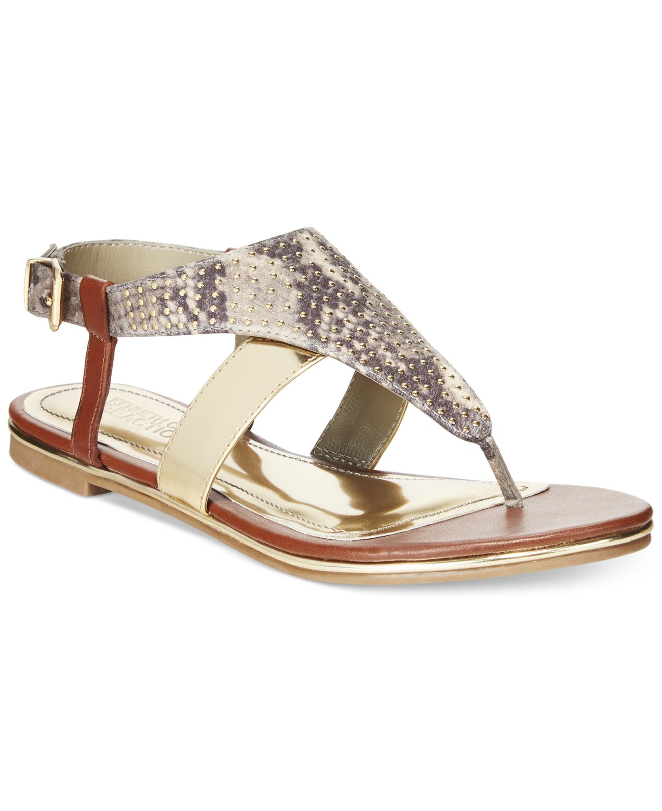 03adf83deea9 Lyst - Kenneth Cole Reaction Melinda Thong Sandals in Natural