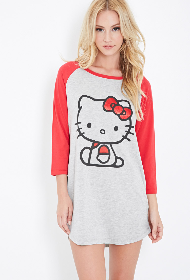 ae1f581ee Forever 21 Hello Kitty Baseball Tee Nightdress in Gray - Lyst