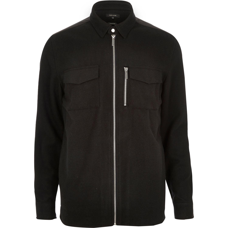 River Island Black Zip Front Flannel Shirt Jacket In Black
