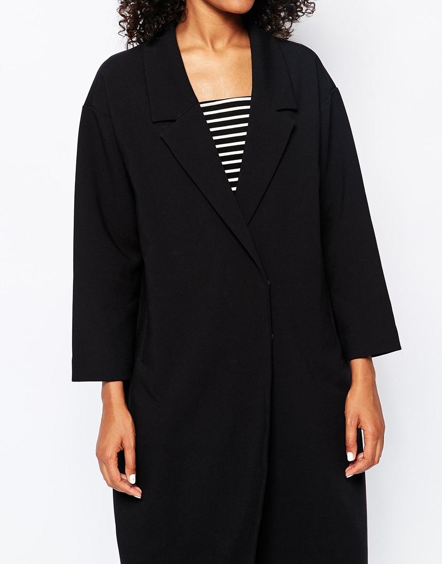 monki tailored oversized blazer coat in black lyst. Black Bedroom Furniture Sets. Home Design Ideas