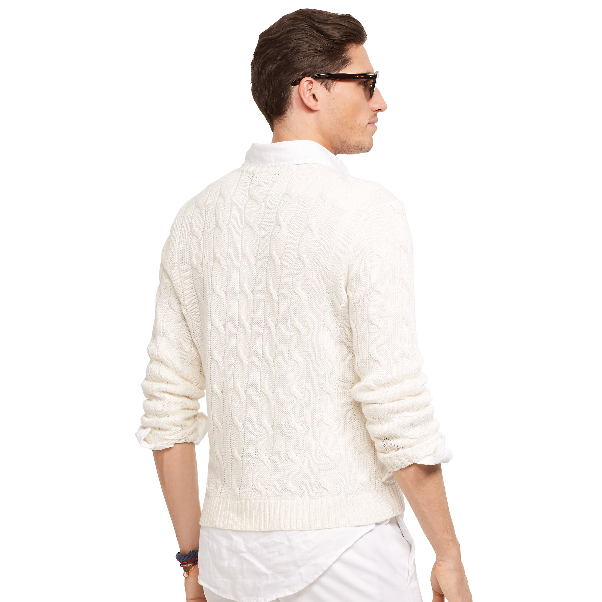 Lyst Polo Ralph Lauren Cable Knit Linen Sweater In White