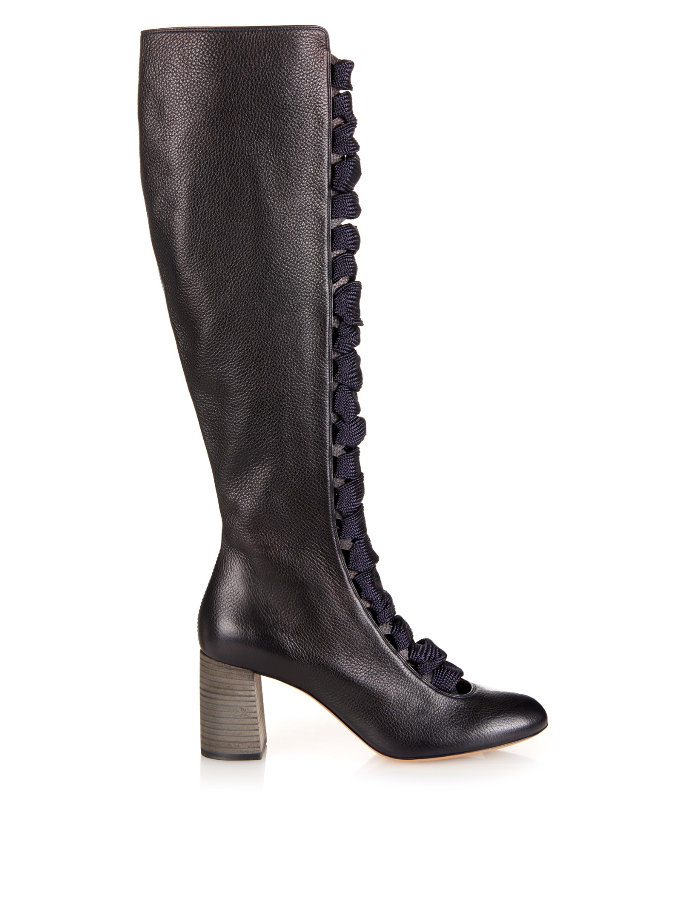 chlo lace up front leather knee boots in blue lyst. Black Bedroom Furniture Sets. Home Design Ideas