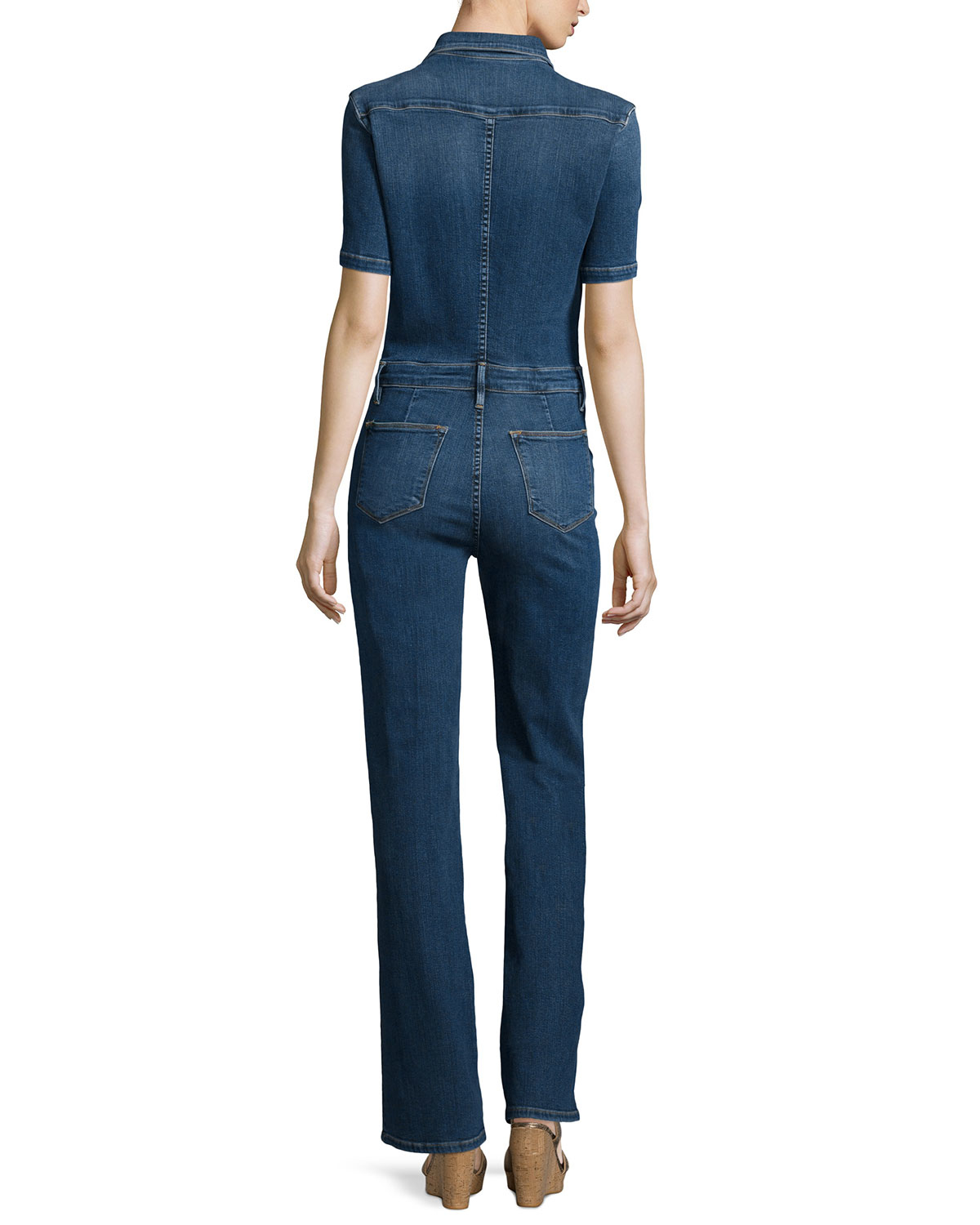 Frame Le Mechanic Flare Jumpsuit in Blue | Lyst