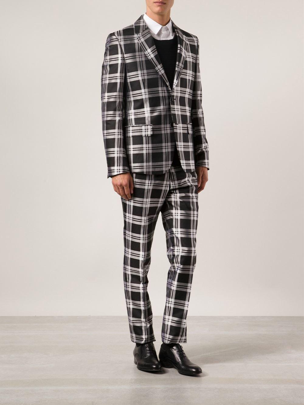 Lyst Alexander Mcqueen Plaid Suit Jacket In Black For Men