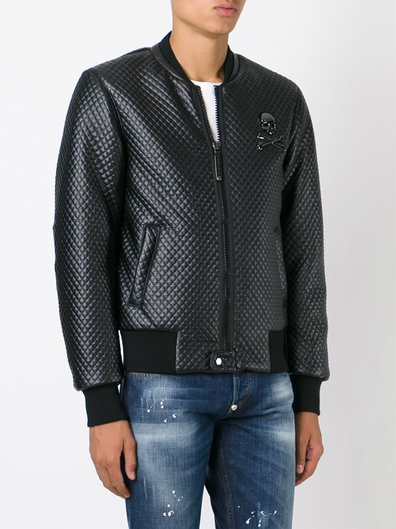philipp plein 39 smart 39 bomber jacket in black for men lyst. Black Bedroom Furniture Sets. Home Design Ideas