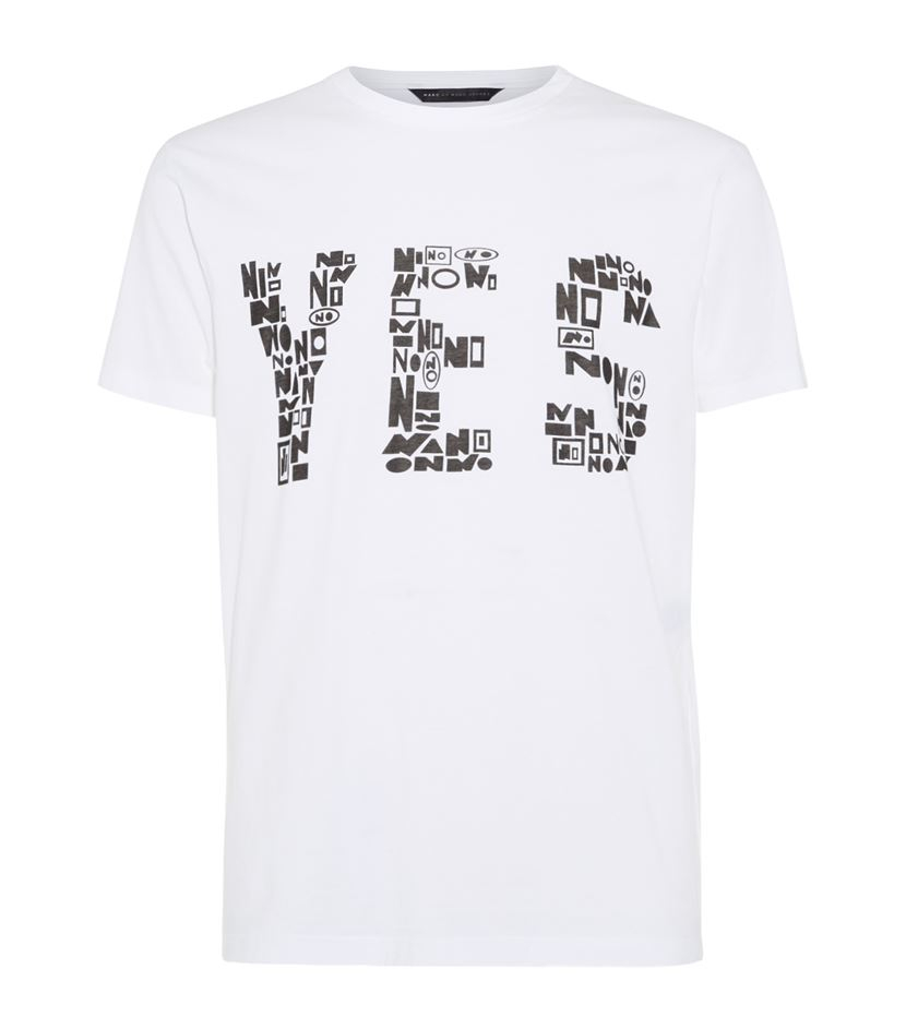 marc by marc jacobs yes no print t shirt in white for men. Black Bedroom Furniture Sets. Home Design Ideas