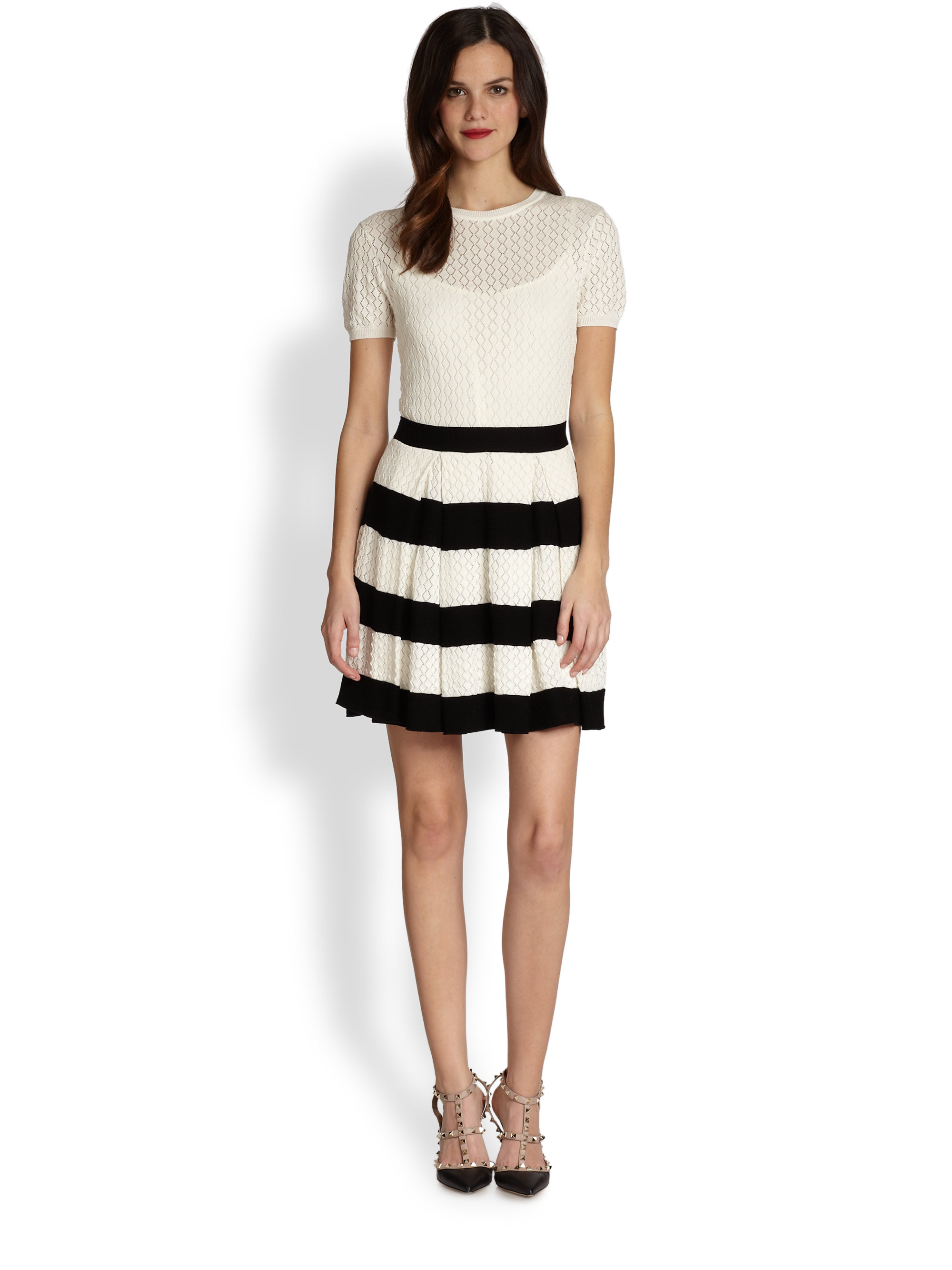 Lyst Red Valentino Pleated Knit Dress In Natural