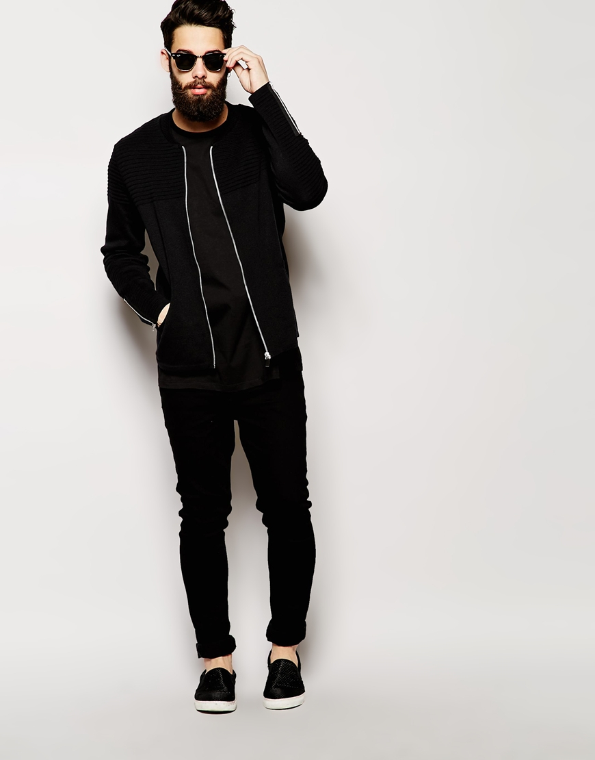 Asos Knitted Bomber Jacket With Biker Detail in Black for Men | Lyst