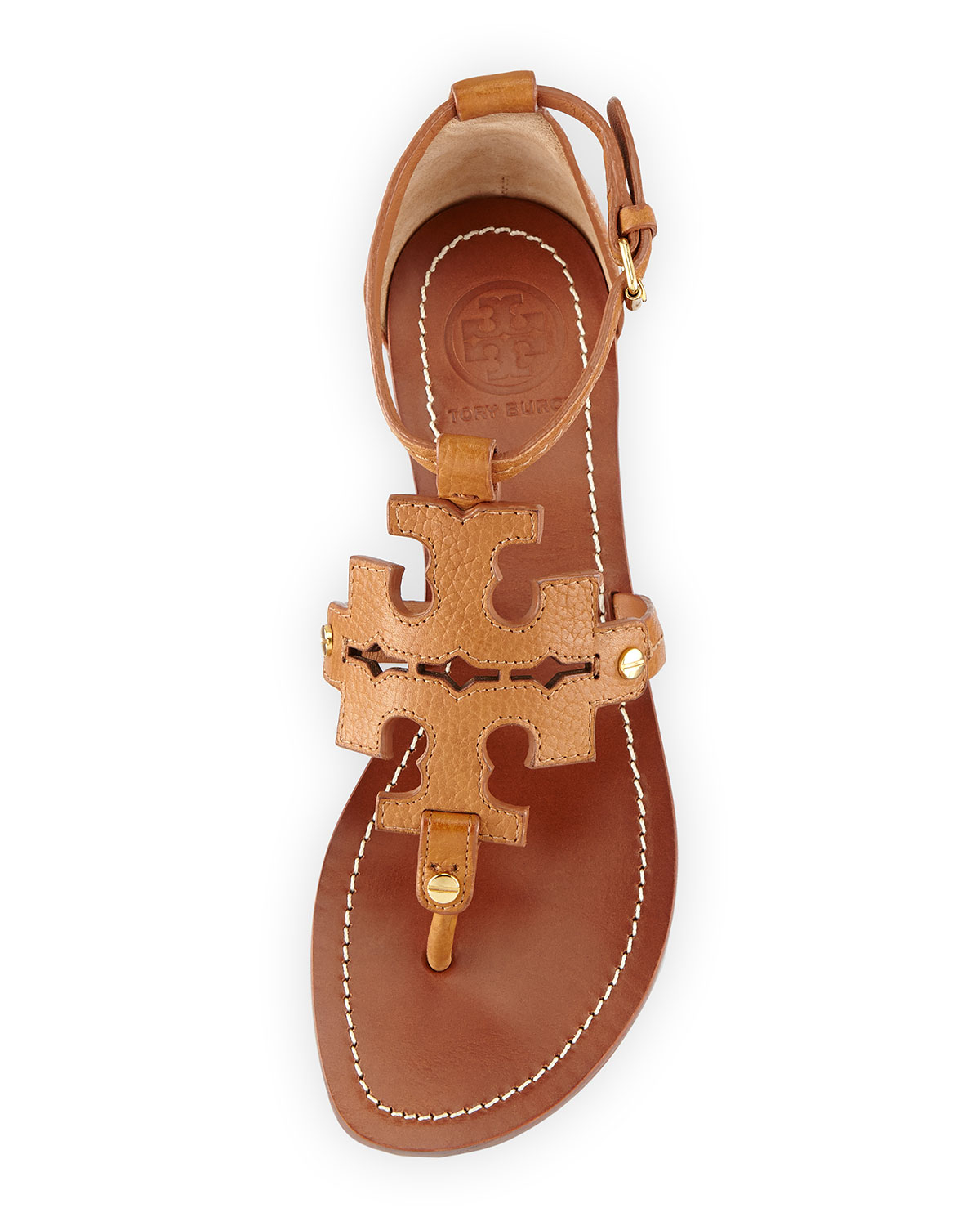 64e5a015c ... get lyst tory burch phoebe logo flat thong sandal tan in brown 7d745  1fd49 ...