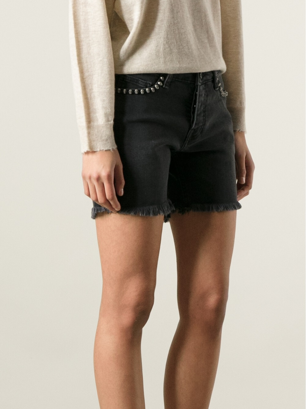 Lyst Zadig Amp Voltaire Studded Jean Shorts In Gray