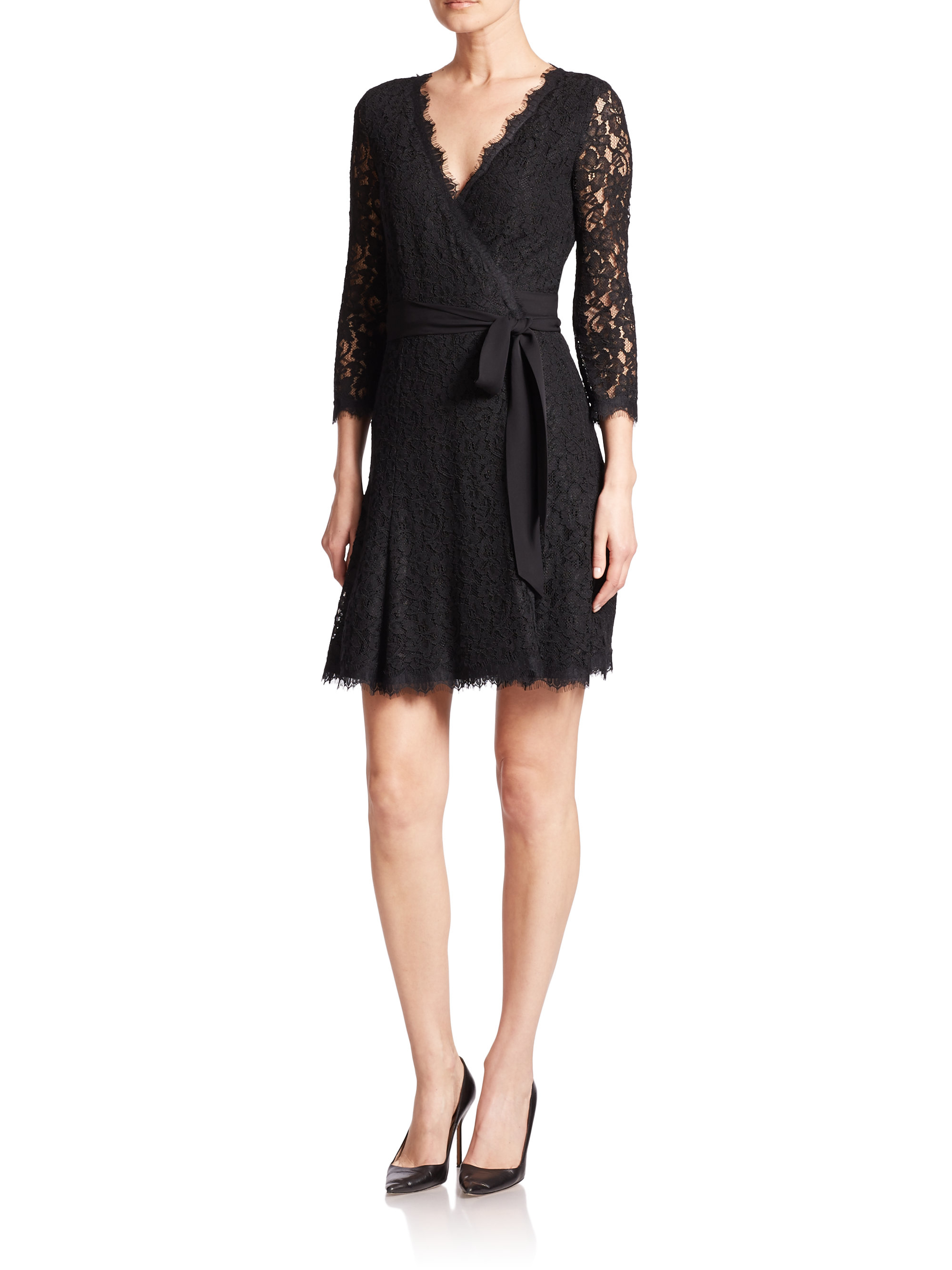 lyst diane von furstenberg julita lace wrap dress in black