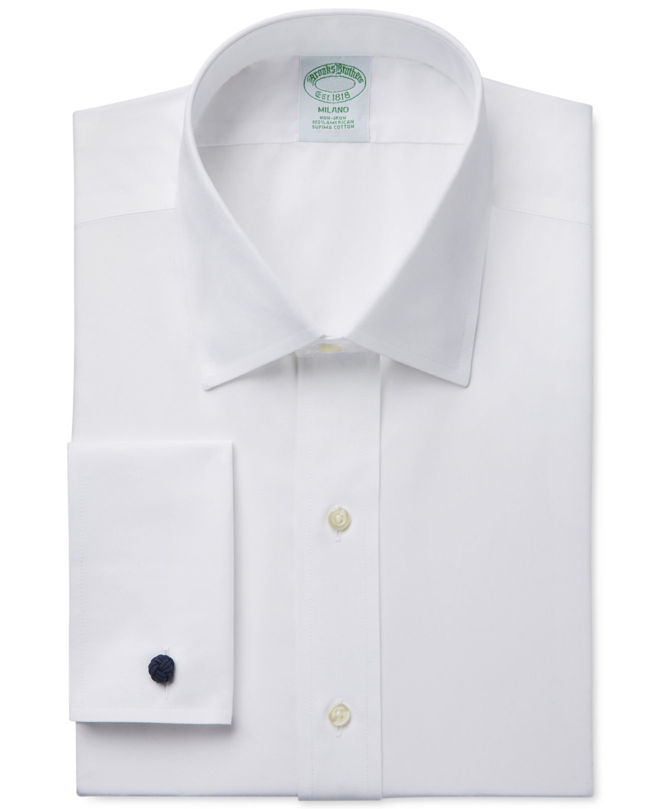 Brooks brothers milano extra slim fit non iron white solid White french cuff shirt slim fit